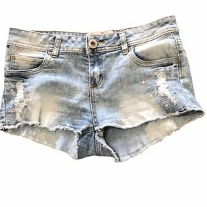 Parisian Collection distressed jewelled shorts 7